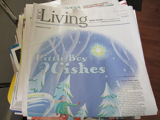 Image of newspaper Living Section with Little Boy Wishes illustration