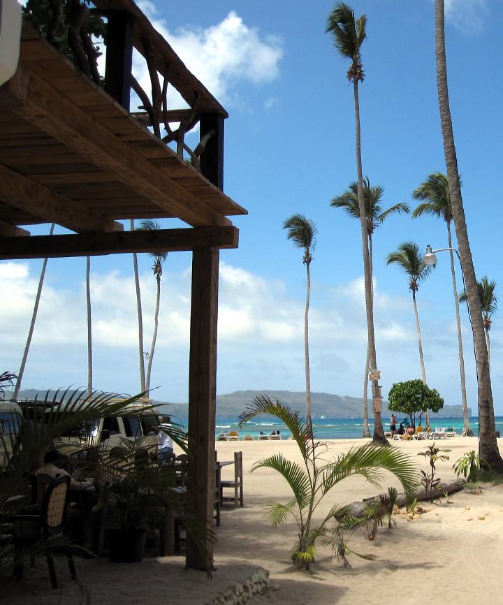open-air beach bar in Samana, Dominican Republic