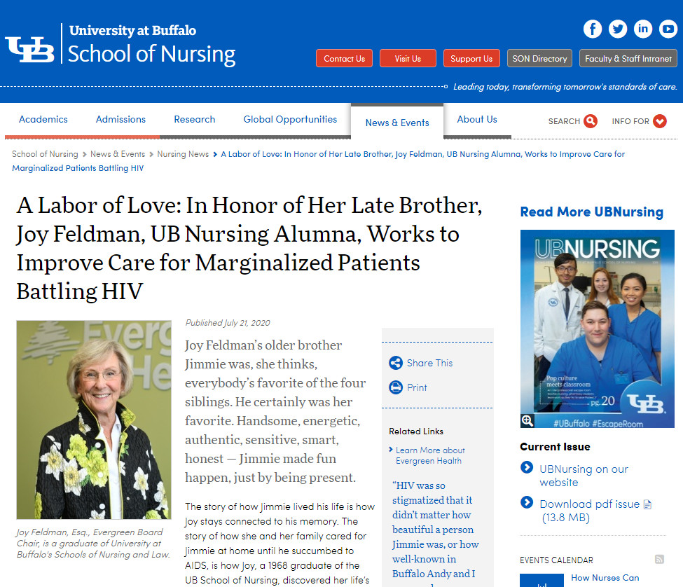 University at Buffalo School of Nursing Alumni News: Joy Feldman